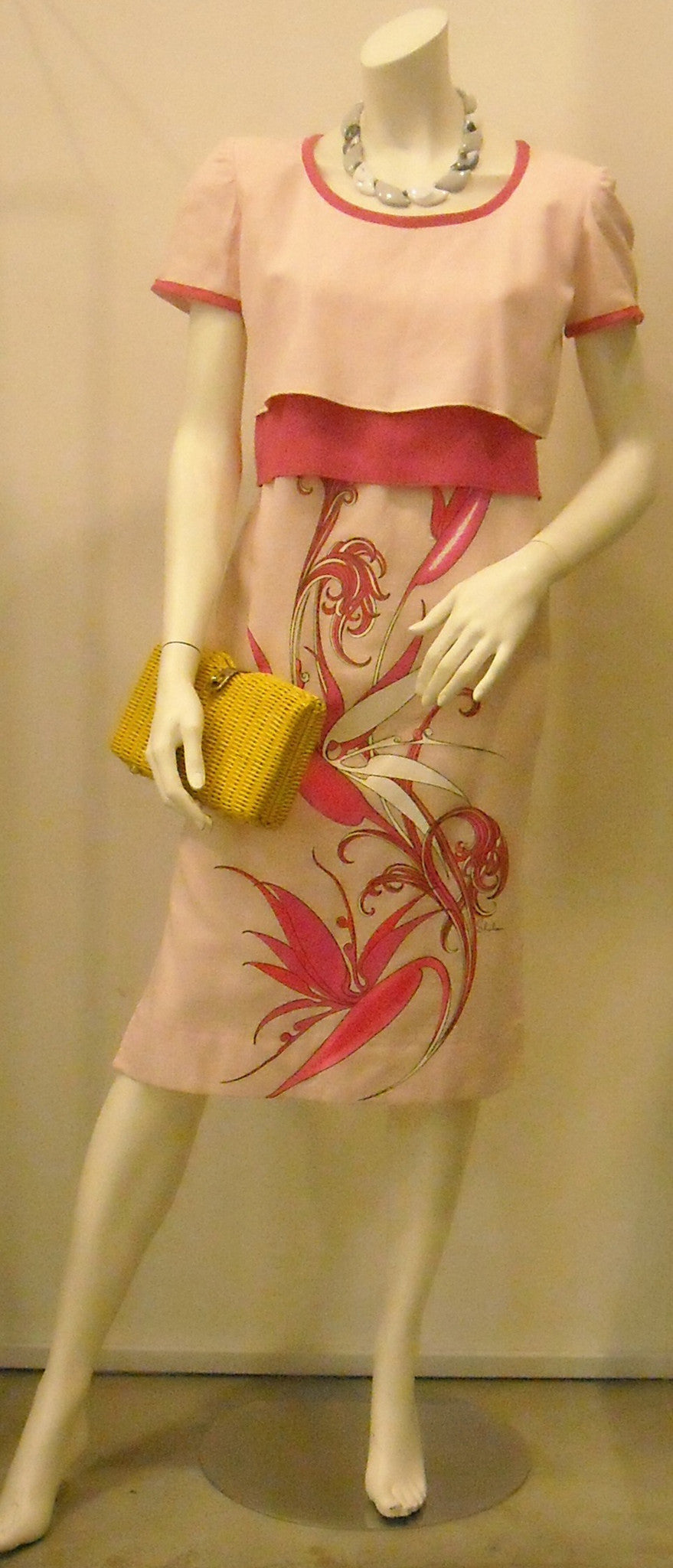 Vintage Shaheen Pink Faux Layer Dress