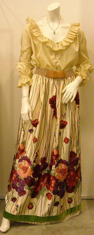 Vintage Victor Costa cream frilled top w floral skirt set