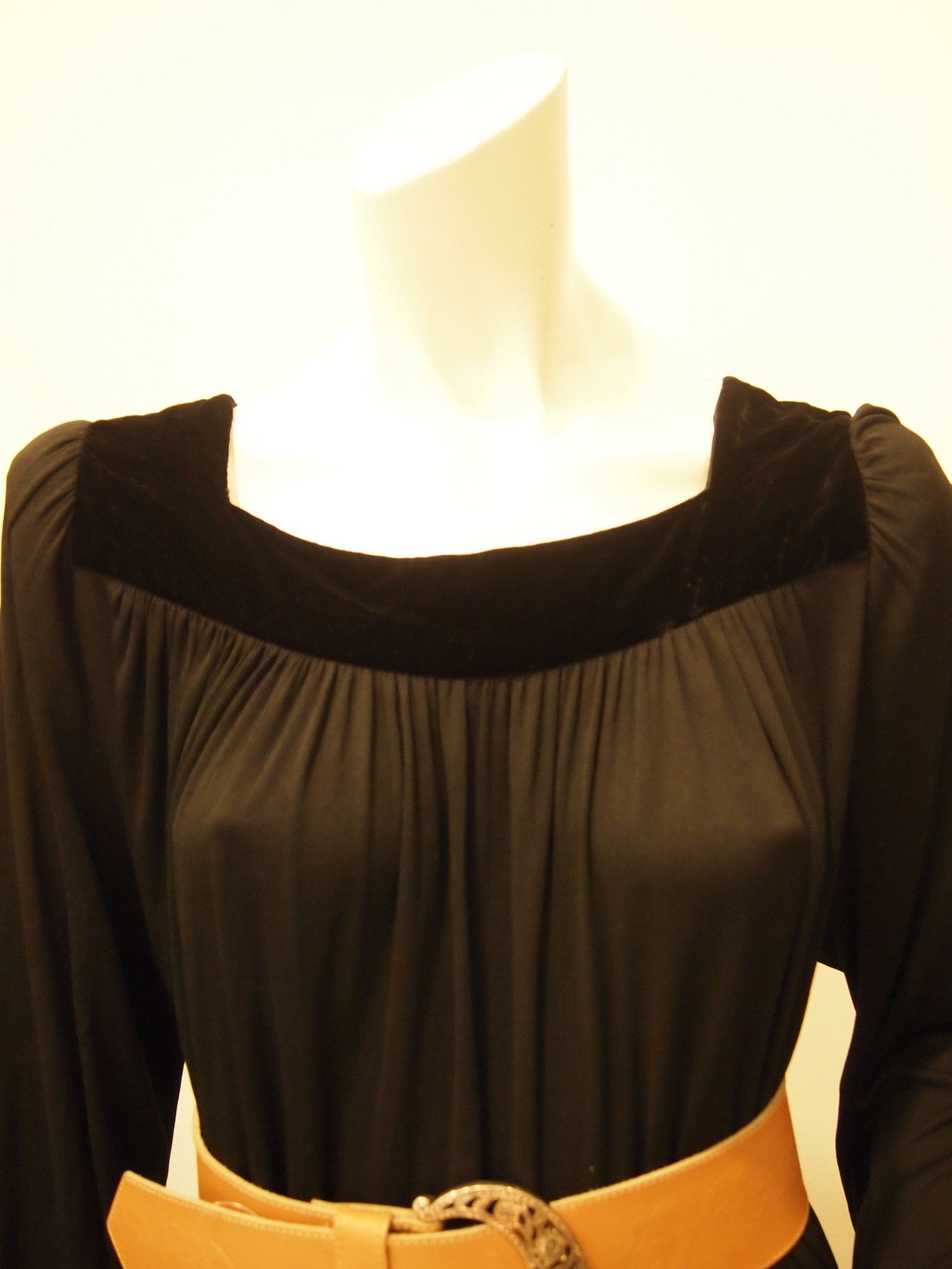 Vintage Trigere Long Sleeve Black Dress with Velvet Collar Trim