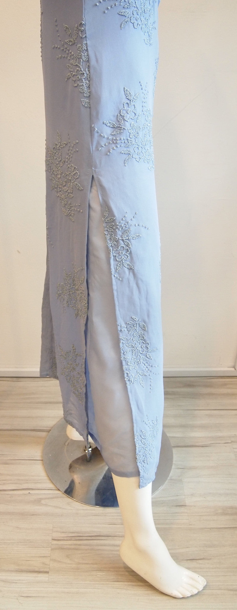 Vintage Nicole Miller Pansy Blue Spag Strap Maxi Dress with Intricate Flower Beading