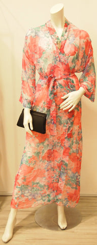 Vintage Miss Dior Pink  Floral Sheer Wrap Dress 3/4 Sleeve