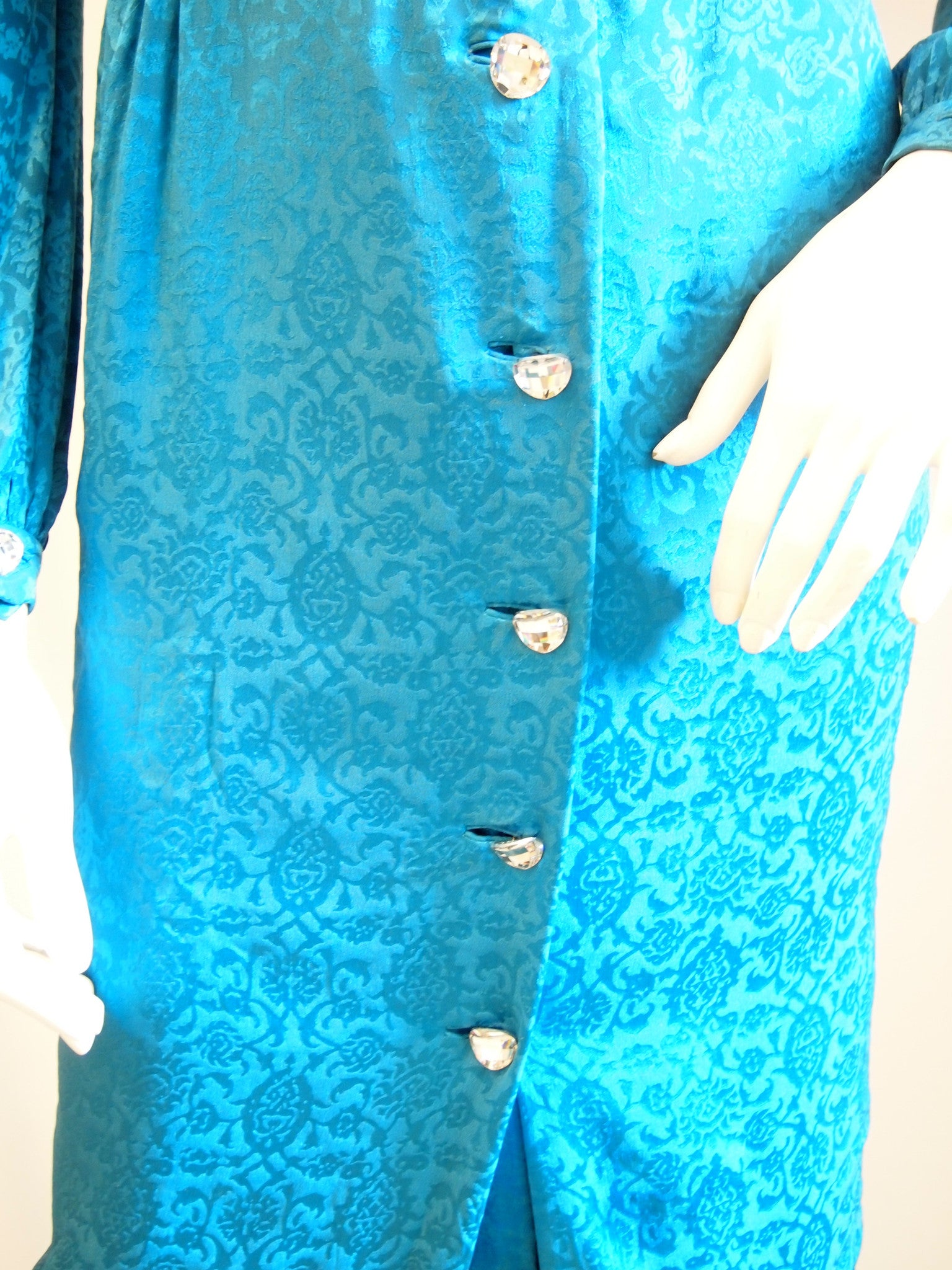 Vintage Trigere Electric Blue Jacquard Long Sleeve Dress