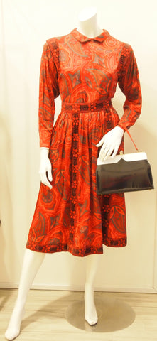 Vintage Victor Costa Red Pansy Print Longsleeve Top and Skirt Set with Velvet Embroidered Trim