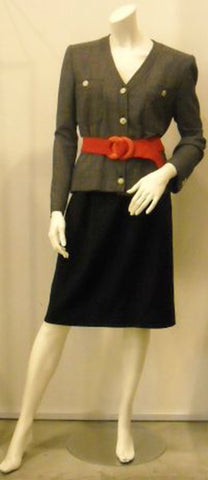Stay Cool On The Job Vintage Valentino Navy/White Dotted Jacket with fitted Navy Skirt