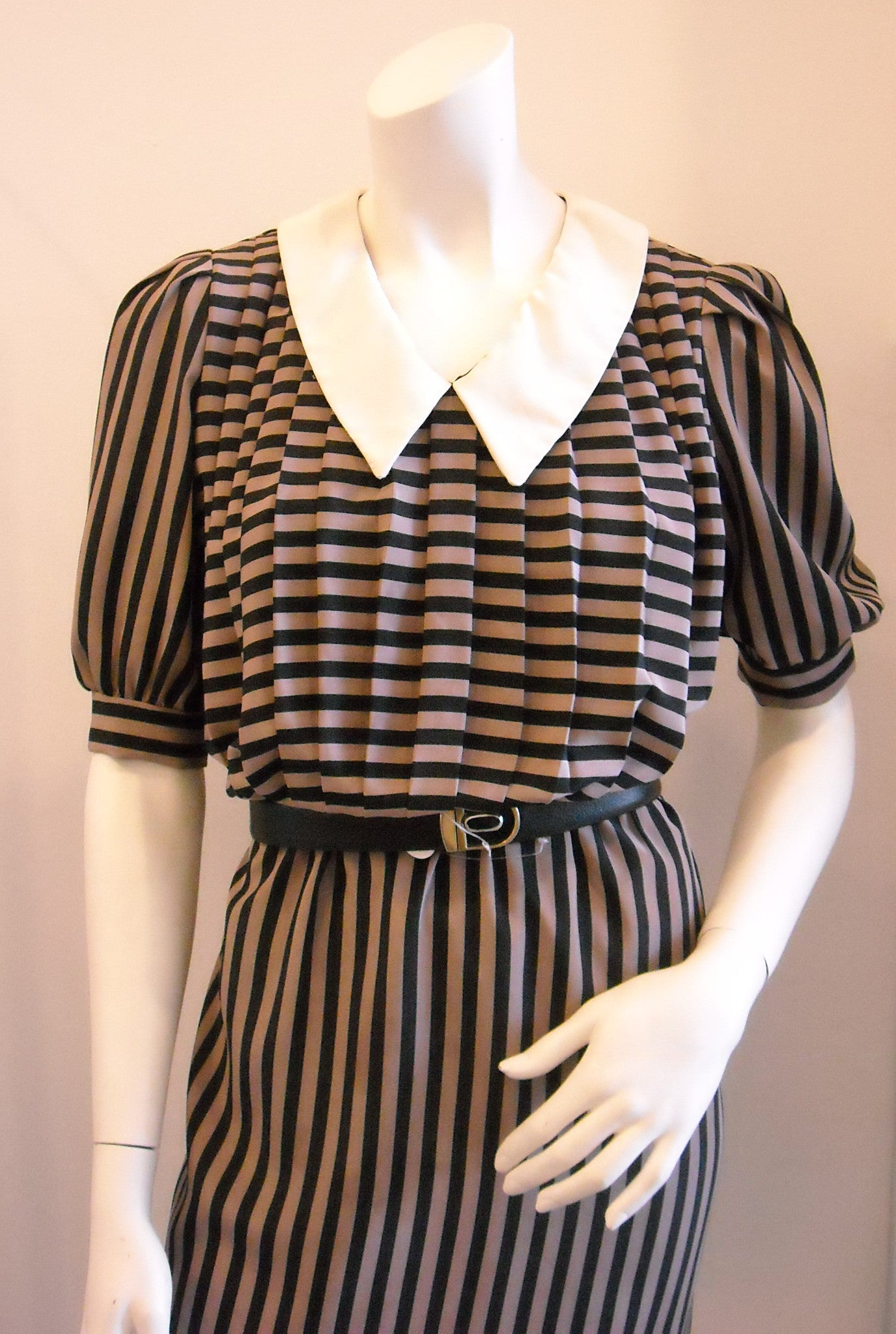 French Indie Chic Brown Black Striped Vintage Dress