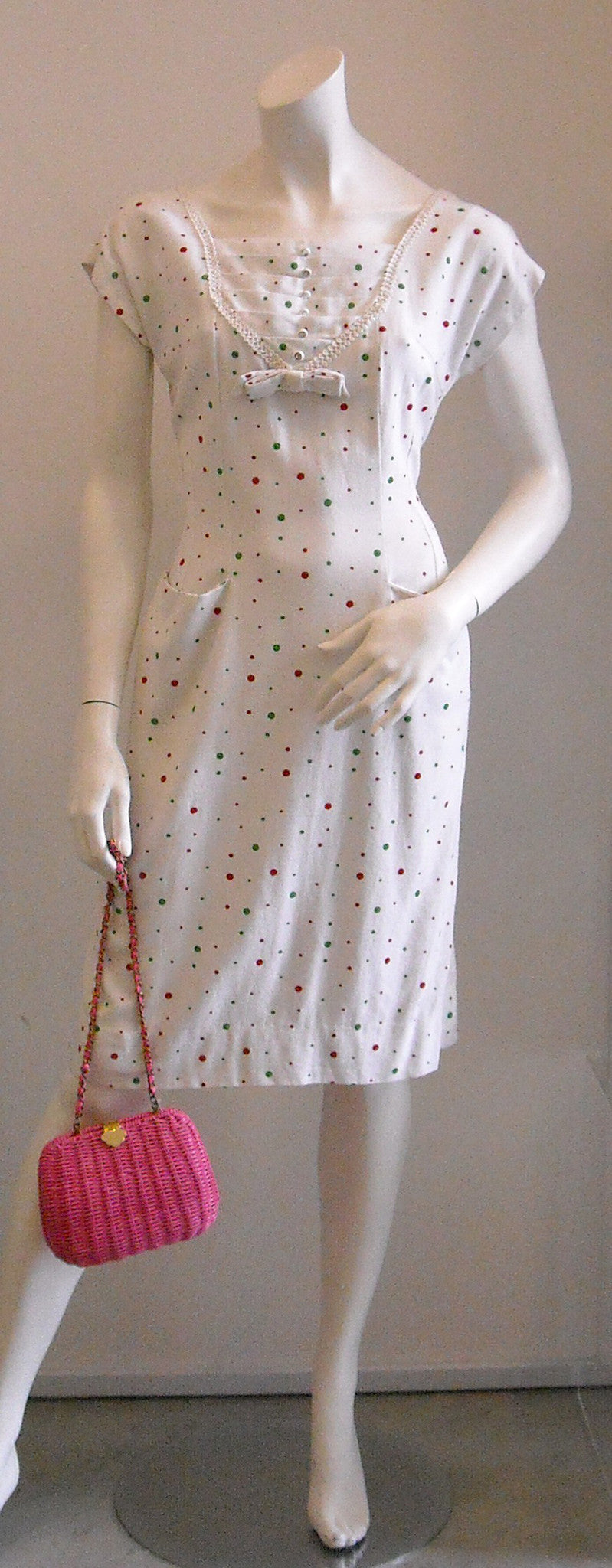 Colorful Bubbling Polka Dots Structured Vintage Dress