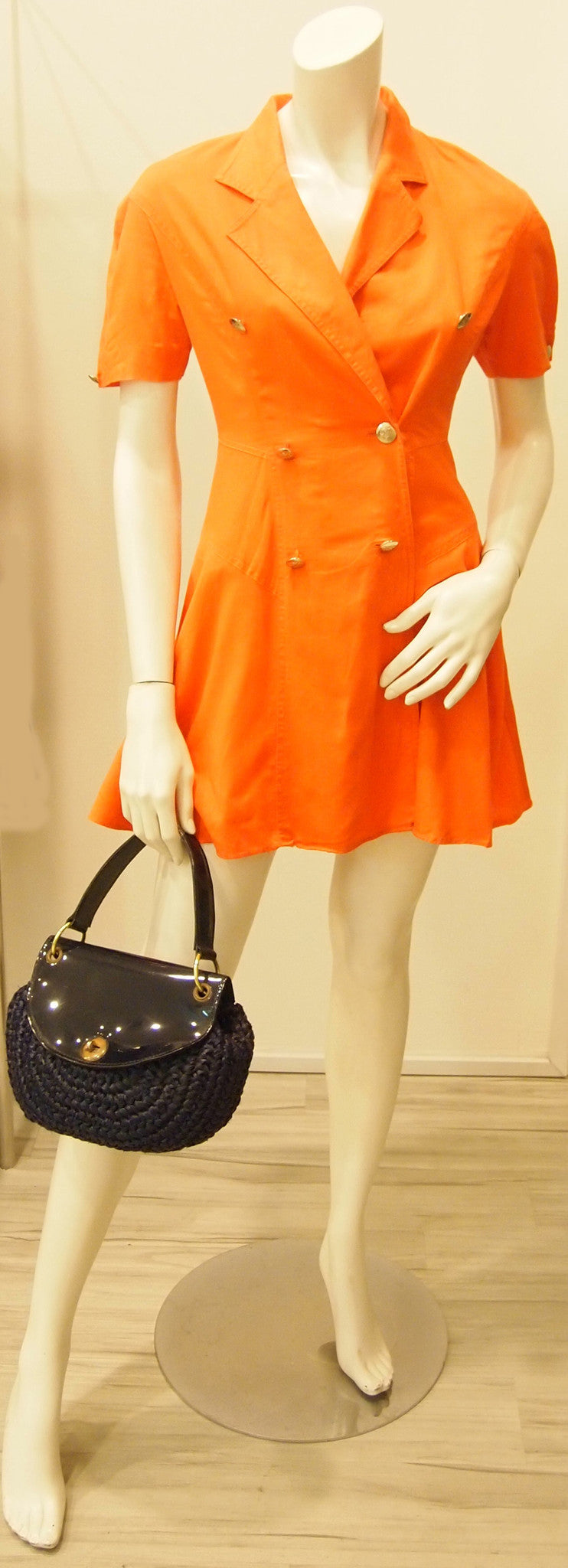 80s Bright Orange Double-Breasted Dress with Cap Sleeves