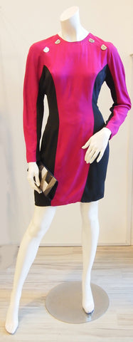 Black Curve Colour Block Magenta Dress