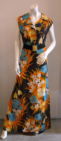 Blue with Fiery Orange Fleur Maxi Vintage Dress
