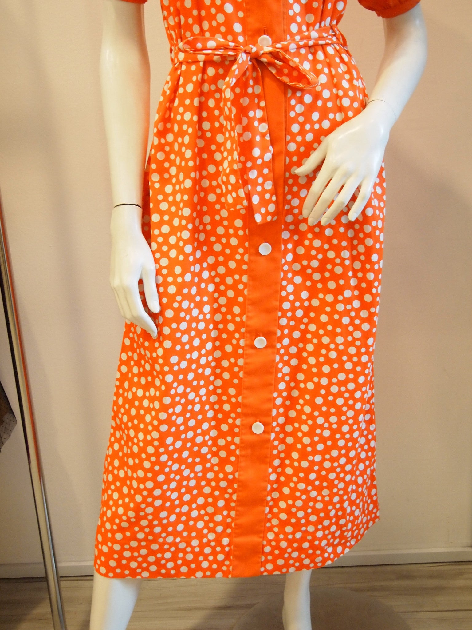Bubbling Tangerine Polka Dots Vintage Dress