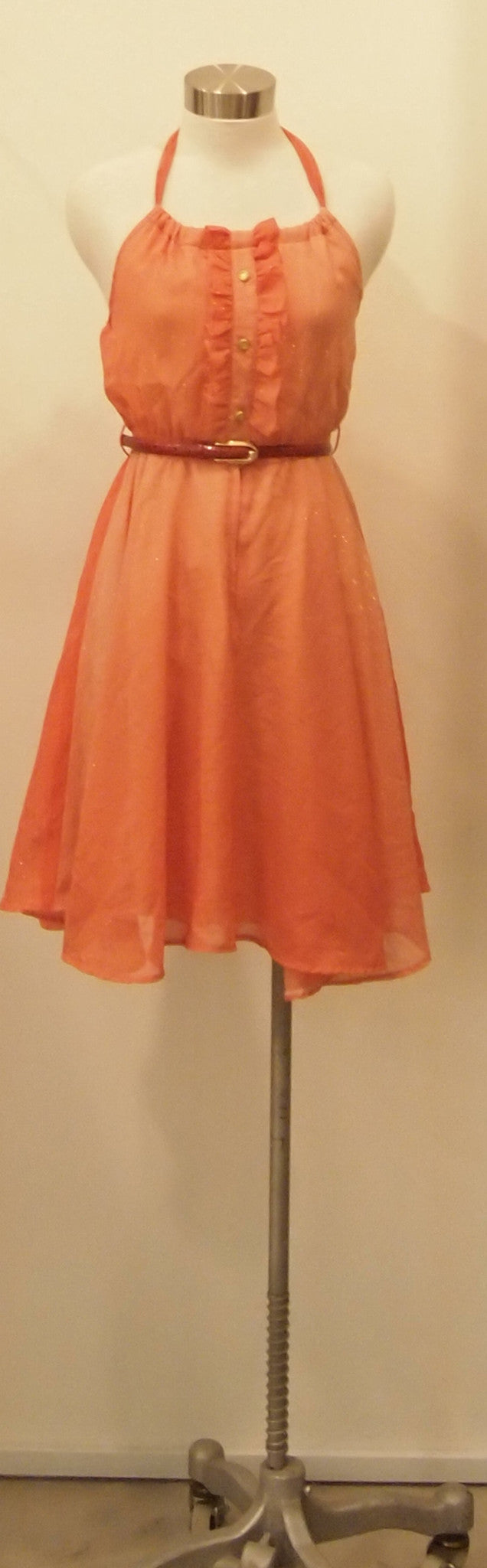 ORANGE FRILL RECONSTRUCTED VINTAGE DRESS
