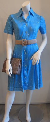 Aqua Pindot Shortsleeve Vintage Dress