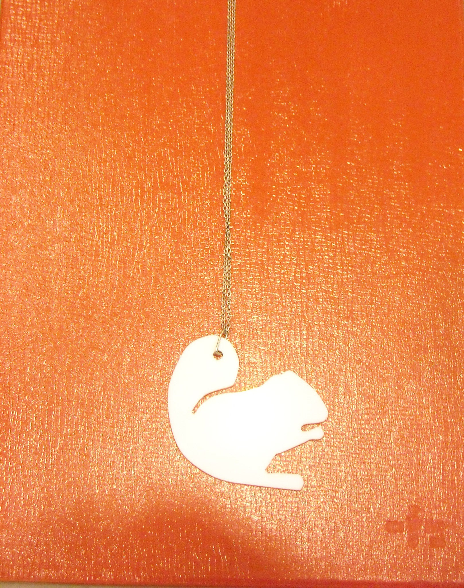 Handmade acrylic squirrel necklace white