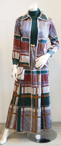 VTG OSCAR DE LA RENTA 2PC SET- FOREST VTG GREEN WOOL 60S SLEEVELESS MAXI DRESS W JACKET