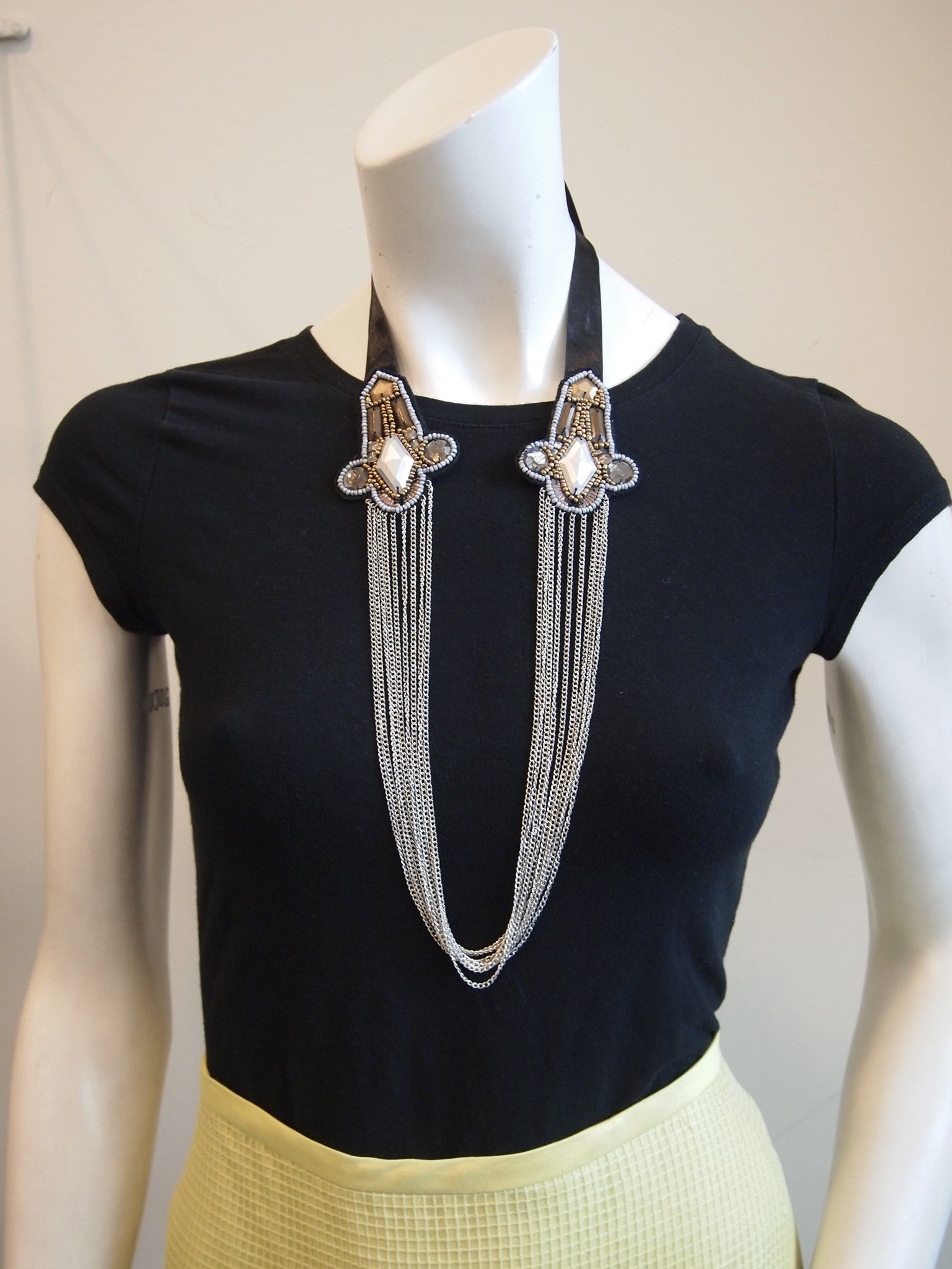 Handmade Embellished Necklace - Black Arrow