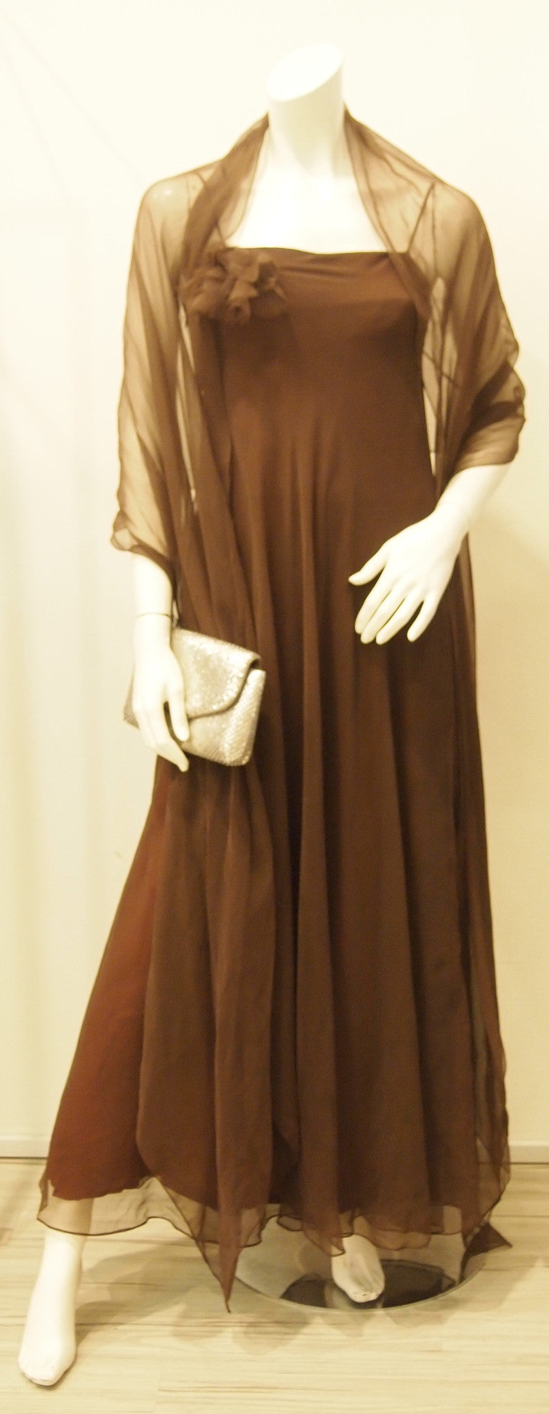 A Night with Chocolate Chiffon Vintage Evening Dress with Matching Shawl