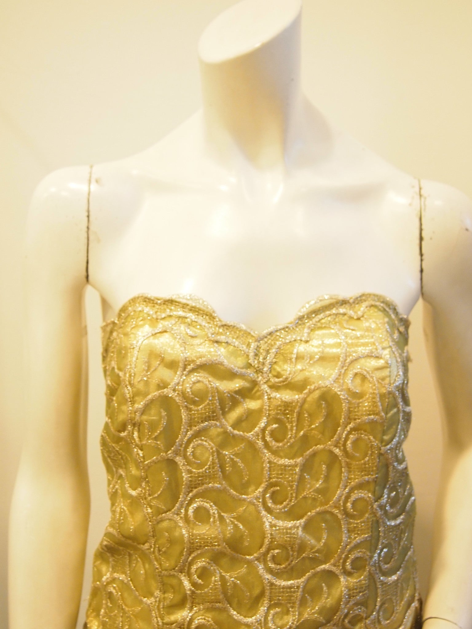 Golden Olive Pleated Lace Bustier Evening Dress with Matching Bolero