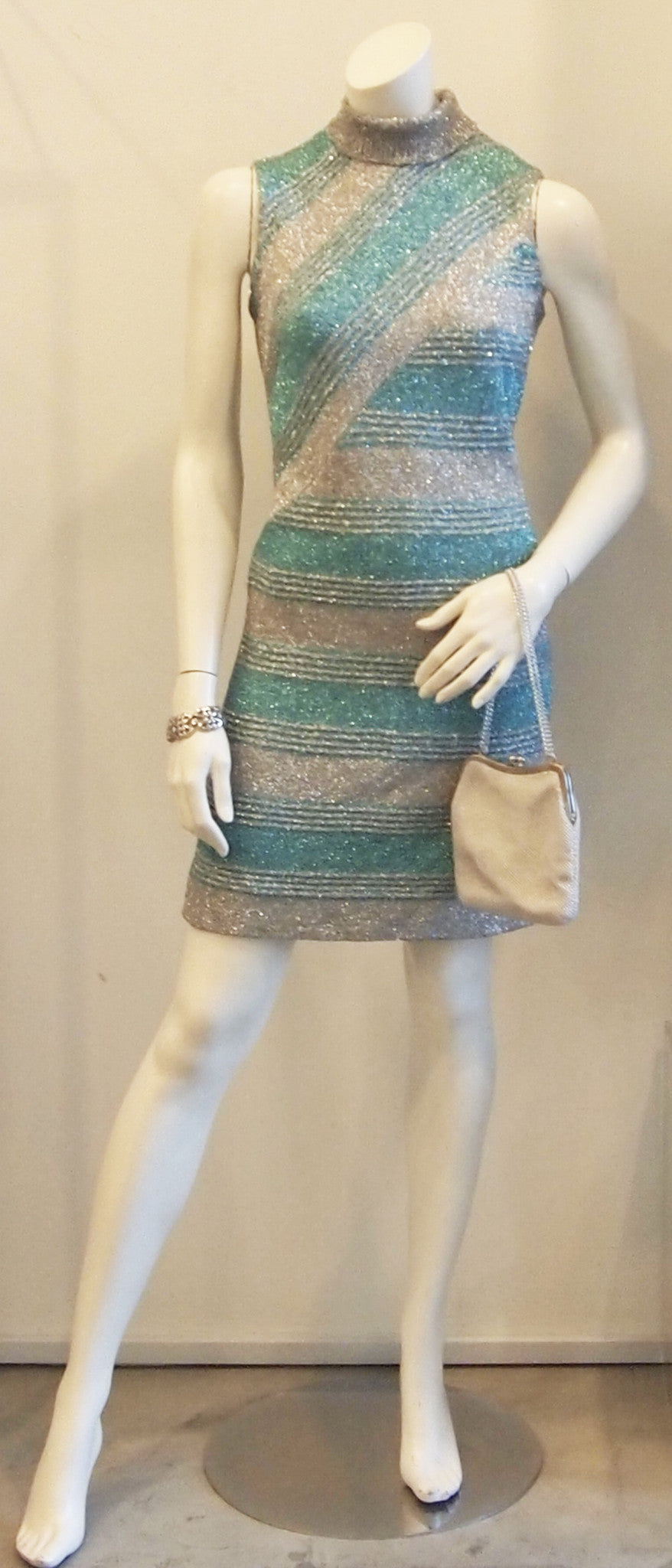 SILVERY BLUE STRIPED DRESS