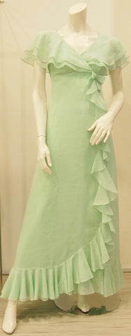 Unruffled Apple Green Maxi 70s Vintage Dress