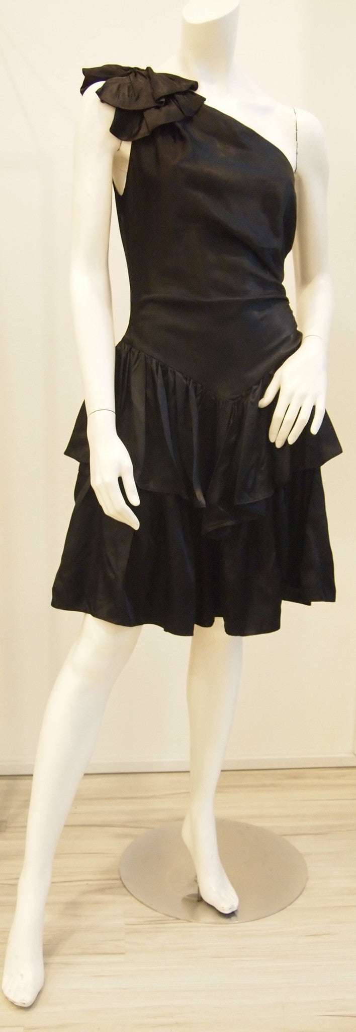Midnight Black Toga Tiered Vintage Party Dress