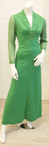 60s Kelly Green Macrame Vintage Dress