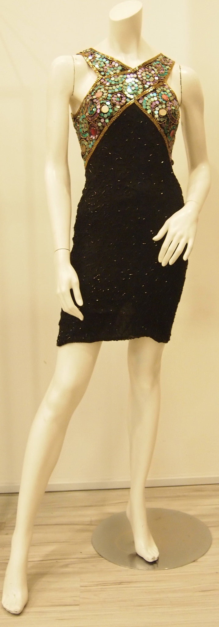 Showstopper Sequinned Black Vintage Dress