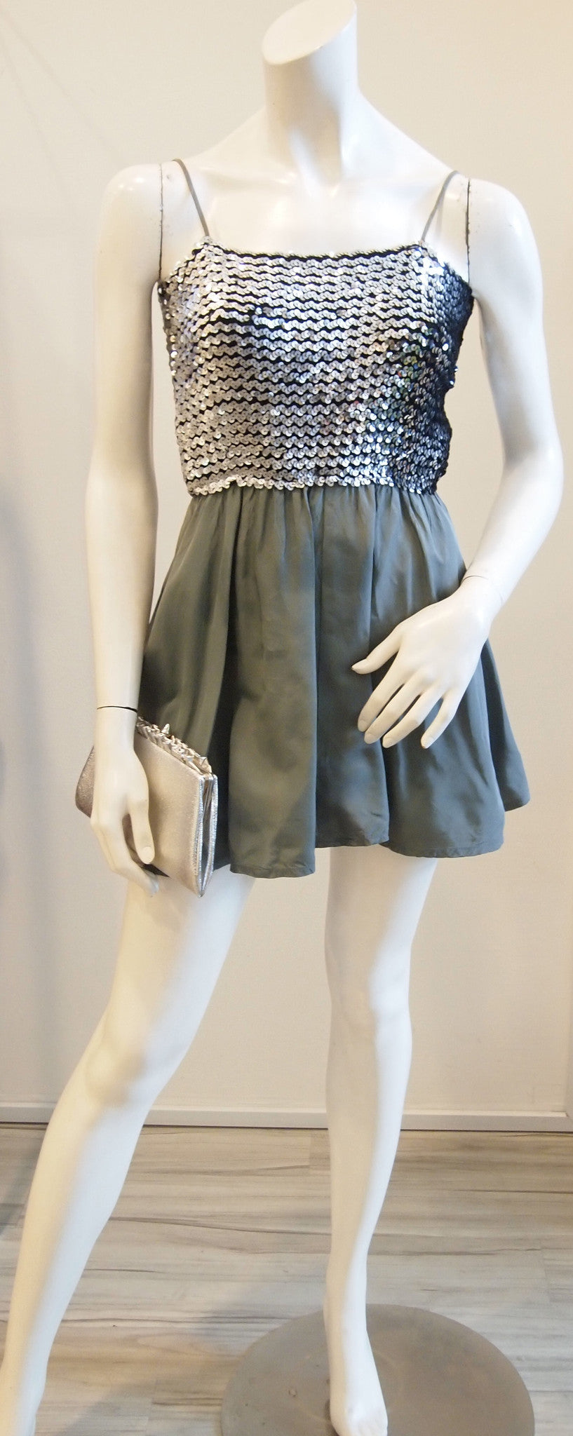 Silver sequin top and grey skirt