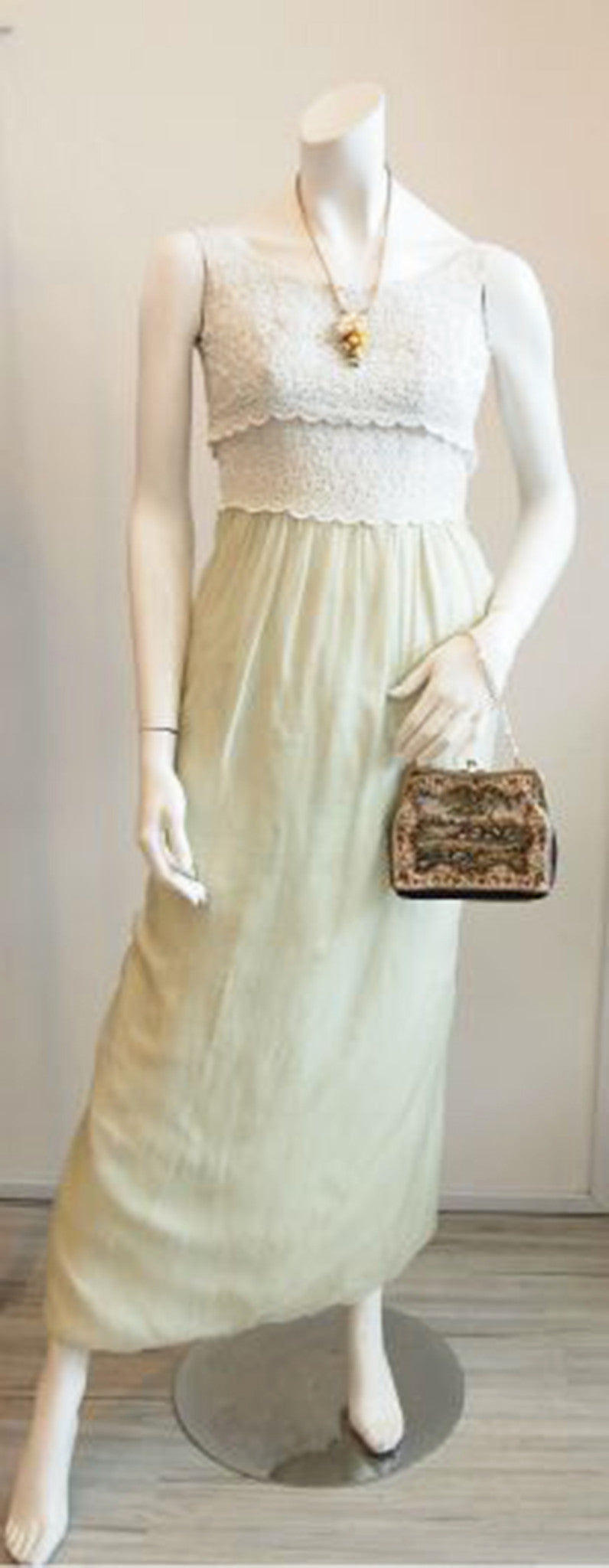 Pastel Perfection Vintage Maxi Dress In Apple Green