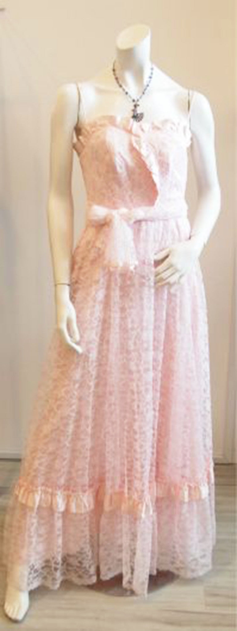 In the Right Lace Vintage Pink Dress With Matching Shawl