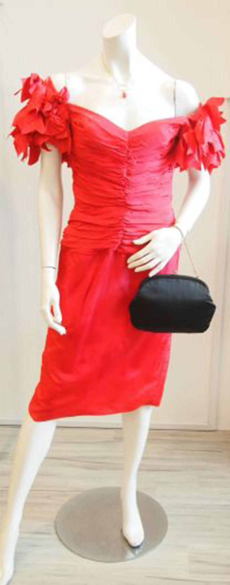 The Fiery Red Seniorita Vintage Cocktail Dress with Petal Sleeves