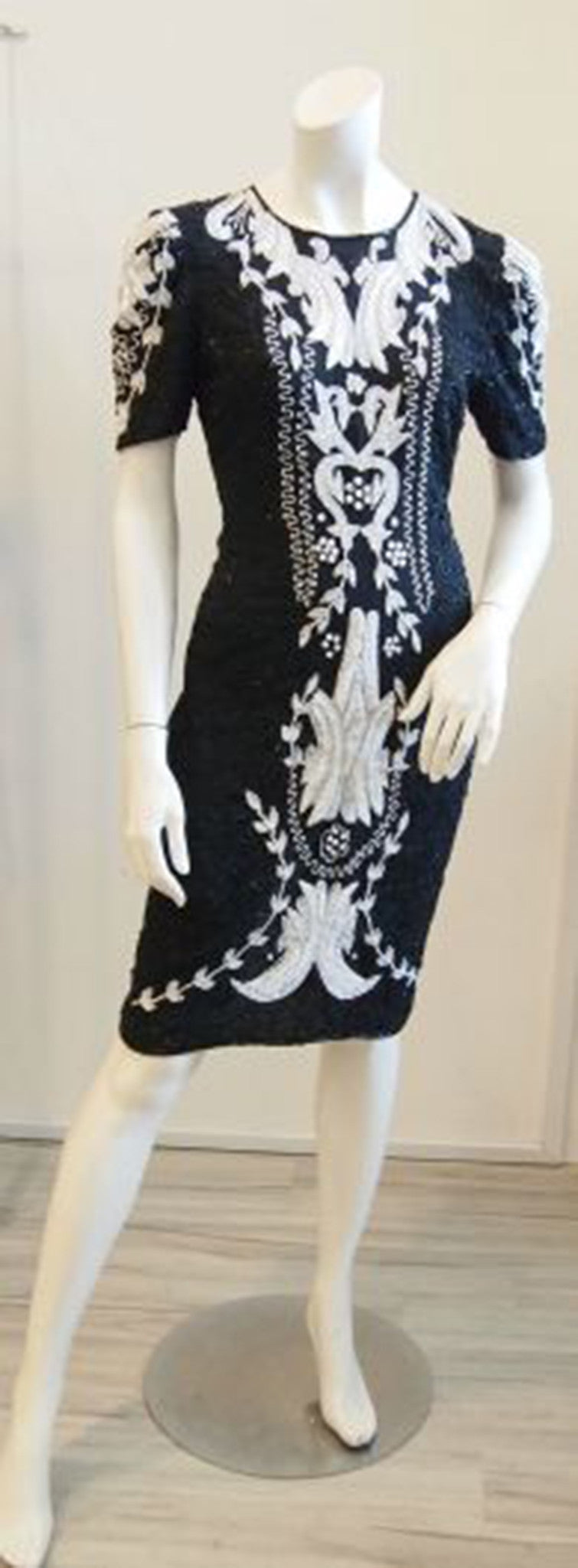 Regal in Black and White Beaded Vintage Evening Dress