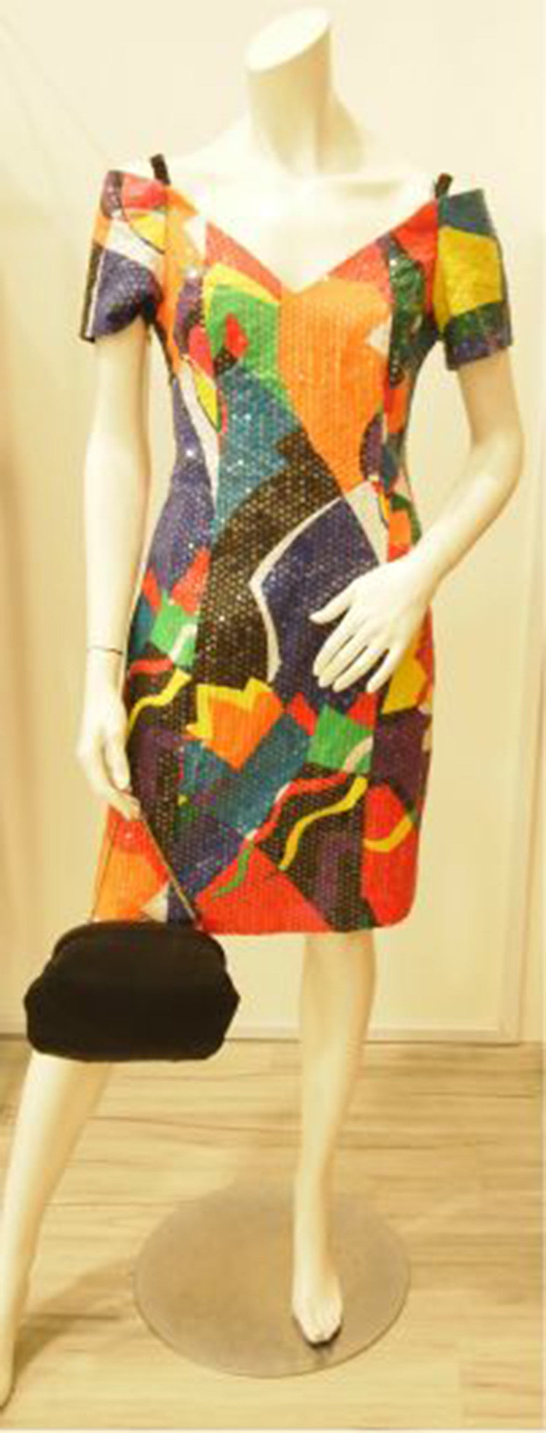 Rainbow Sequins Abstract Art Off-Shoulder Vintage Dress