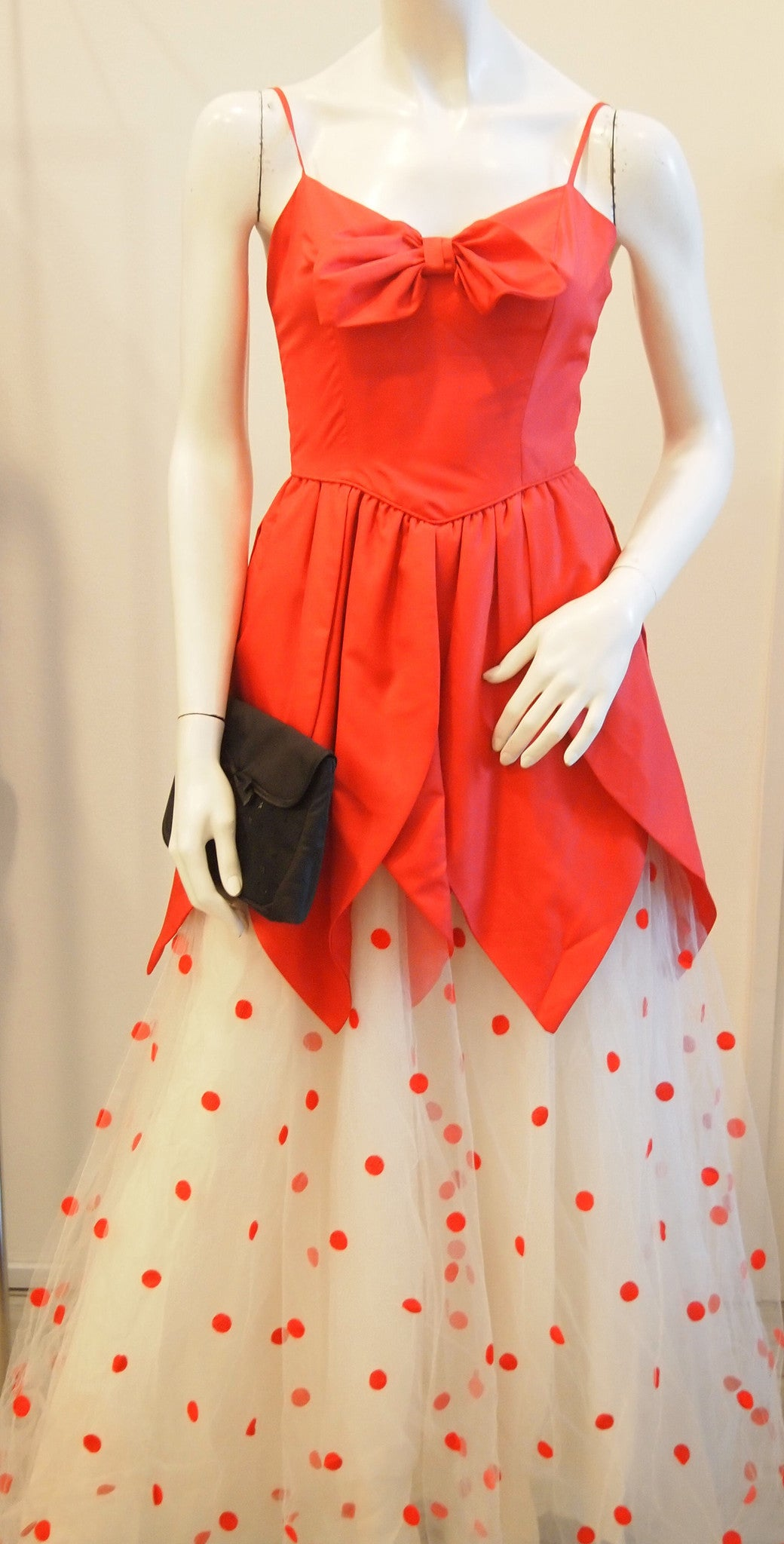 Red ribbon tulip edge and polka dot skirt