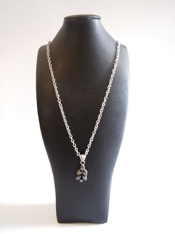 Handmade necklace with onyx with silver rhodium  chain