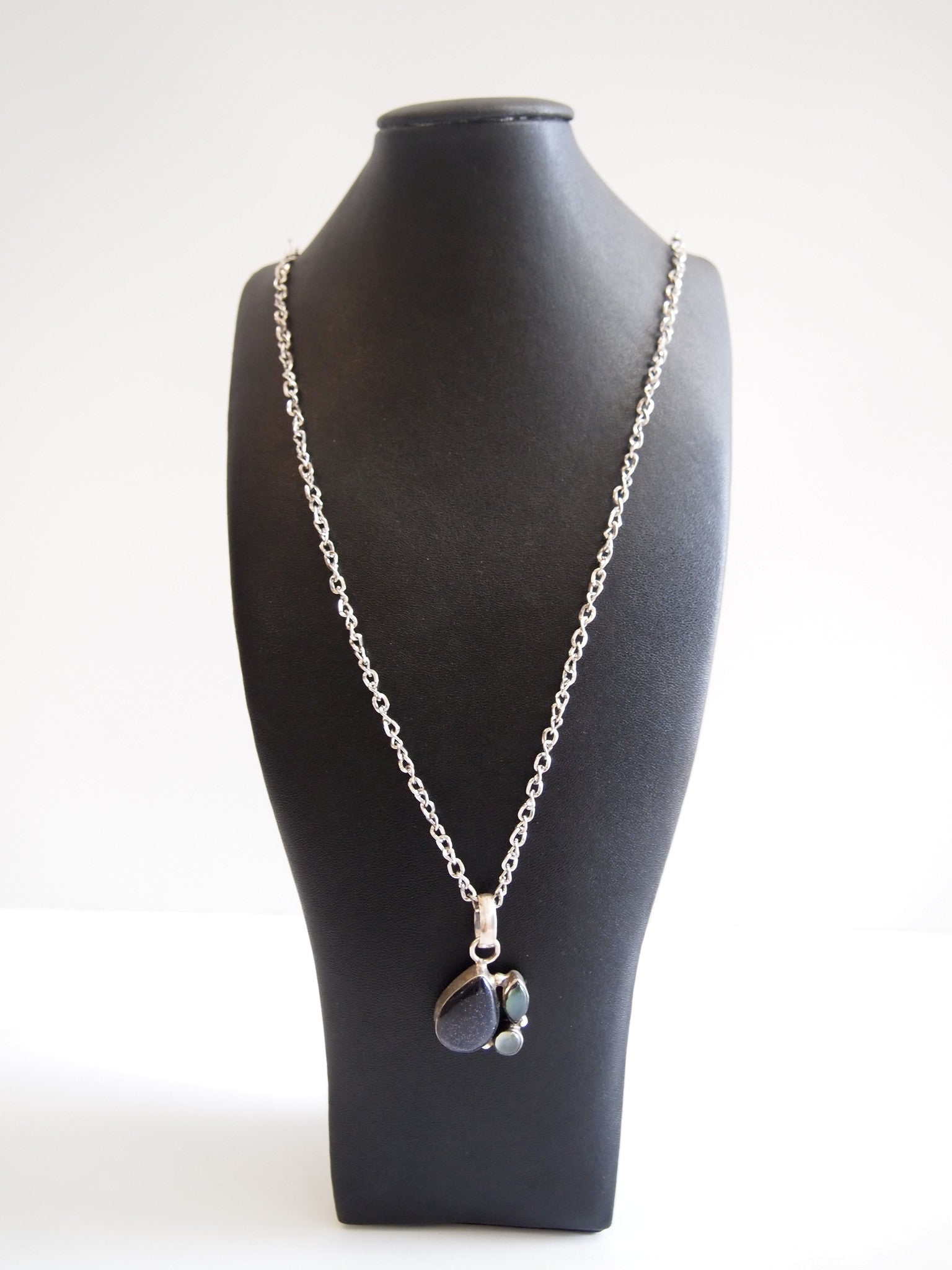 Handmade necklace with sunstone chalcedony onyx with silver rhodium chain