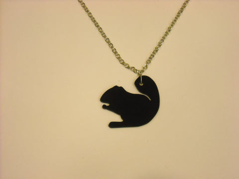 Handmade acrylic squirrel necklace – Black