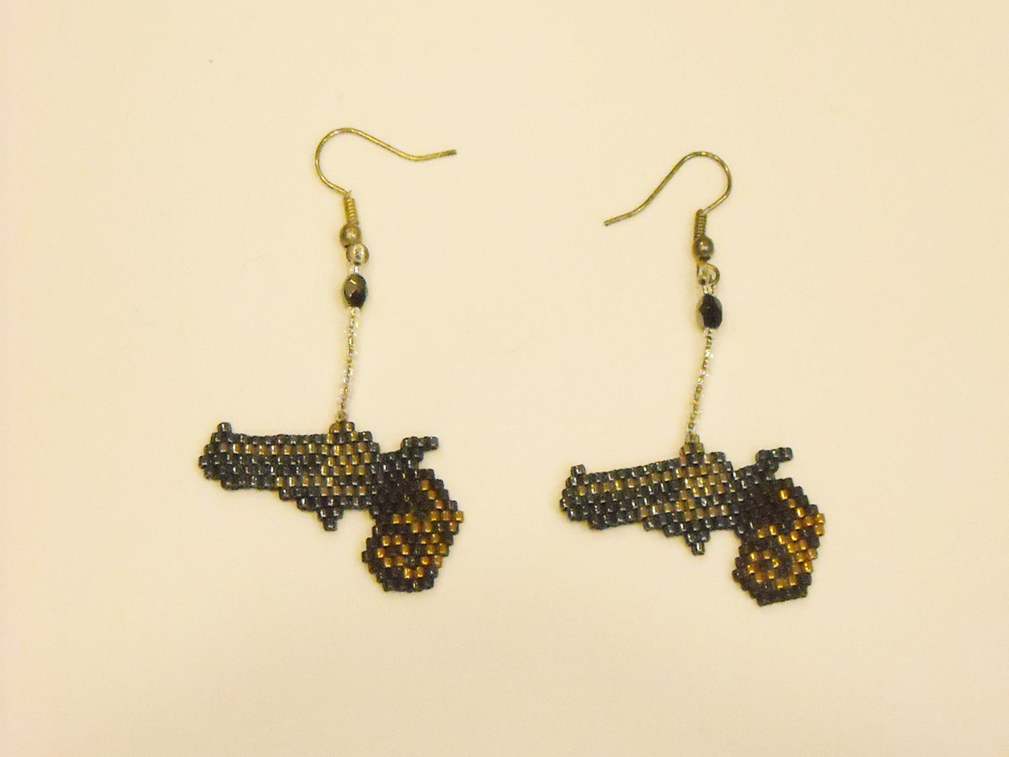 Handbeaded Metallic Gun Earrings