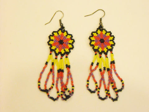 Handbeaded Red Yellow Fleur  Dangle Earrings