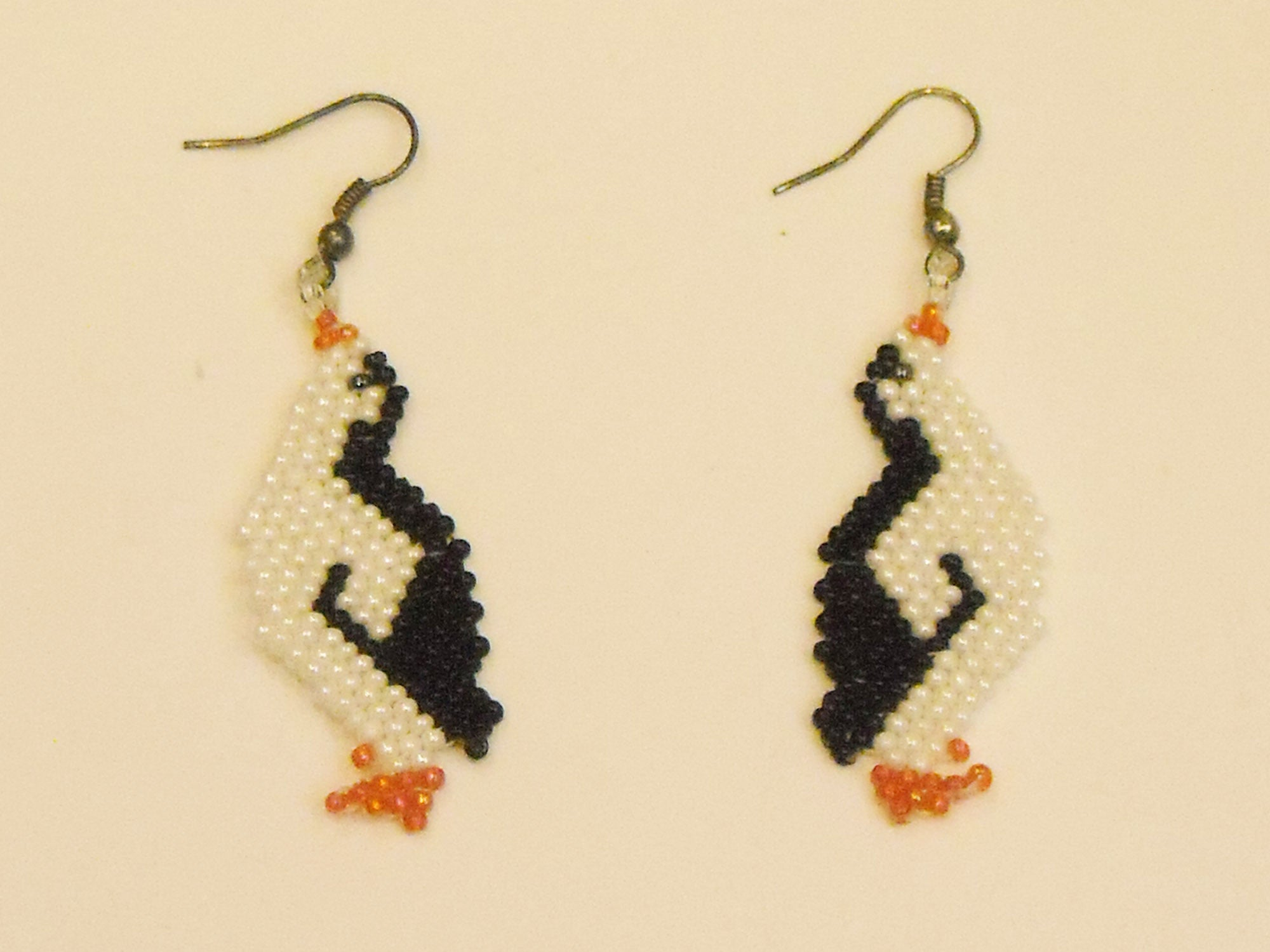 Handbeaded Penguin Earrings