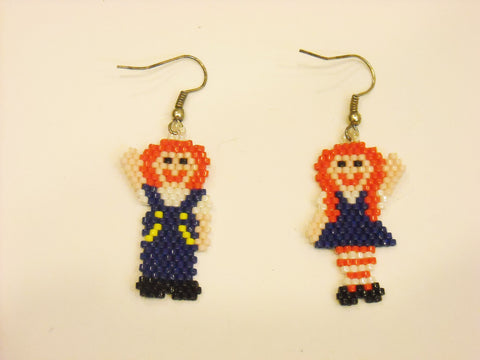 Handbeaded Raggedy Ann Earrings