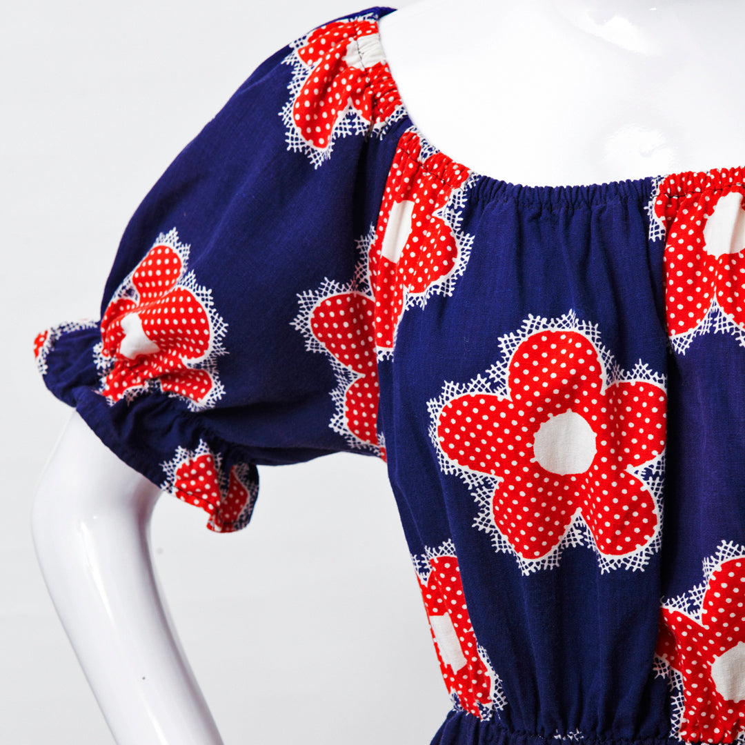 FLOWER POWER 60S RED WHITE BLUE OFF SHOULDER MAXI DRESS