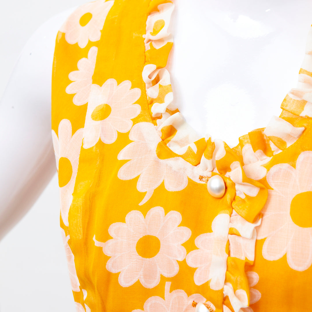 HAPPY YOLK YELLOW 60S POP FLOWERS SHIFT DRESS