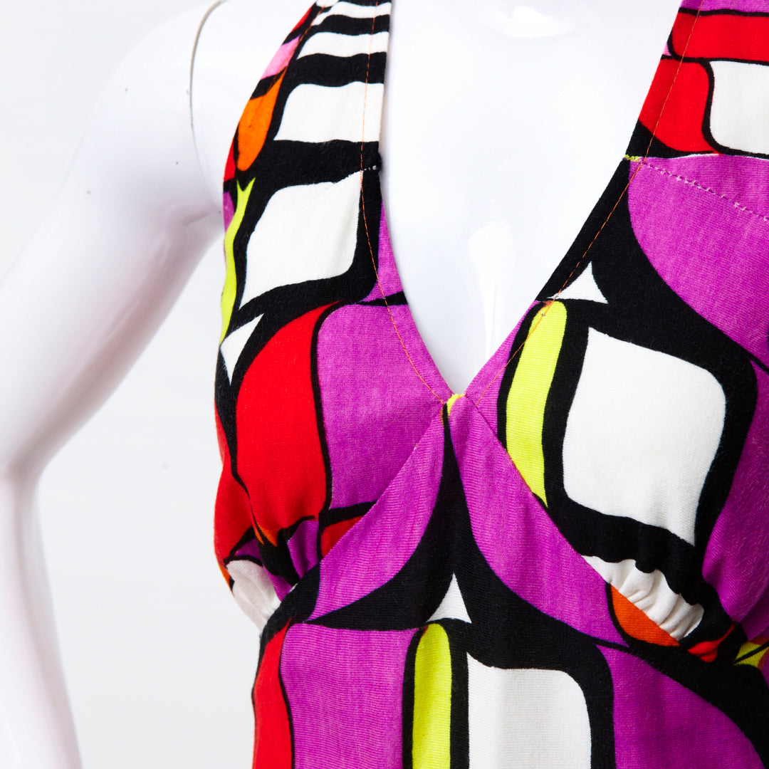 KALEIDOSCOPE ART 70S BRIGHT HALTER DRESS