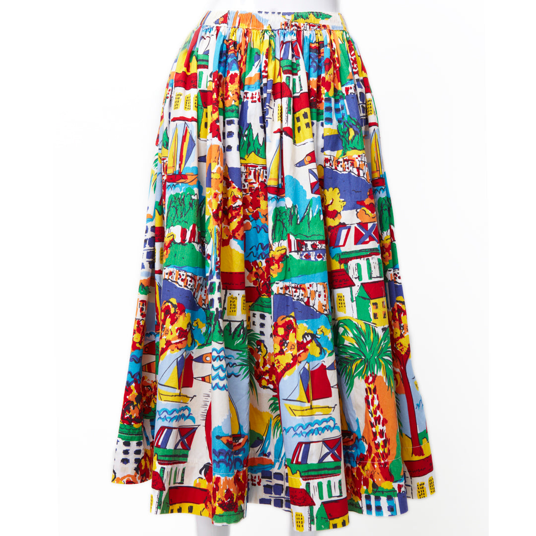 SEE YOU BY THE HARBOUR NOVELTY PRINT SKIRT
