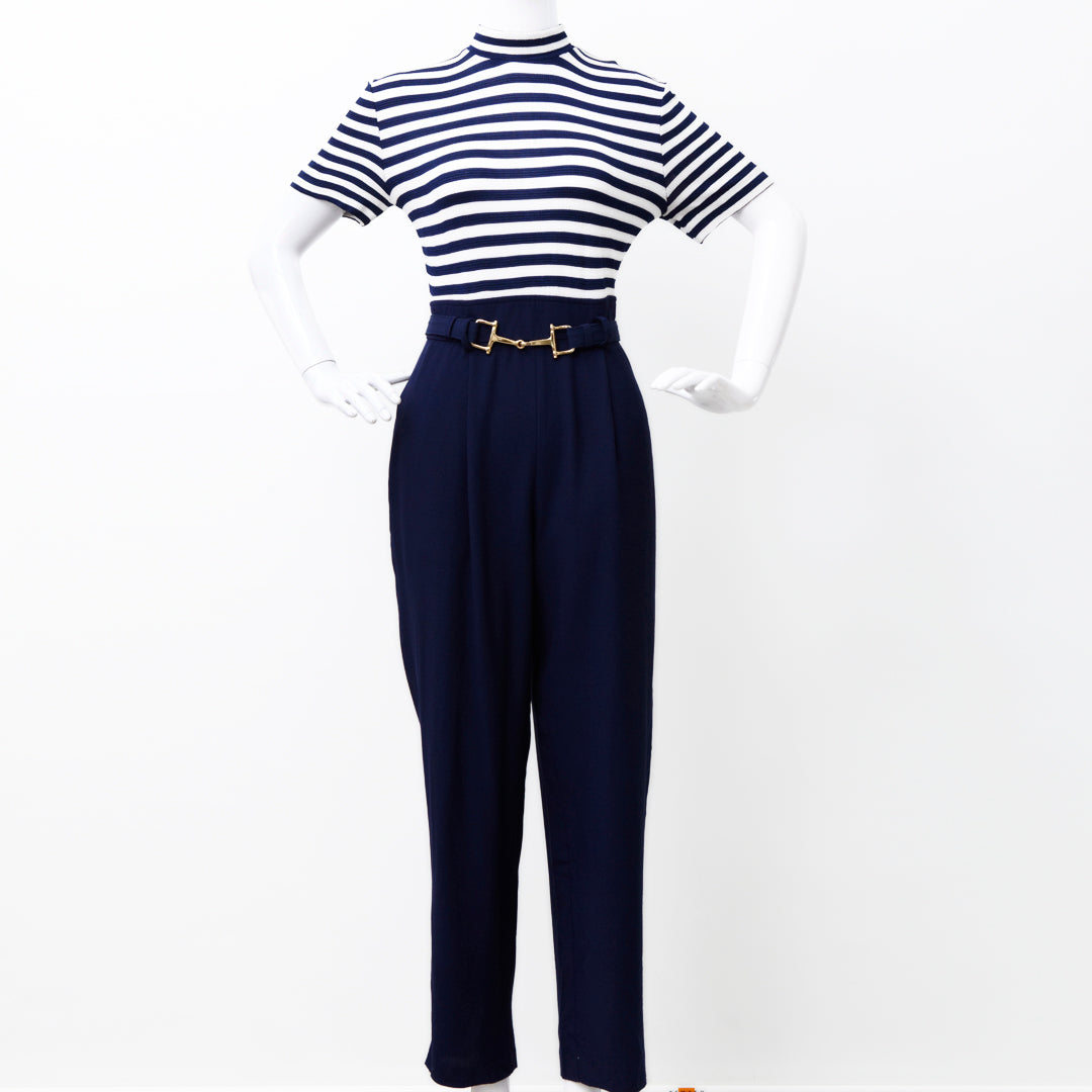 NAUTICAL STRIPES NAVY SLOUCHY JUMPSUIT