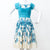 RARE 50S FIT AND FLARE DRESS IN BLUE FLORALS