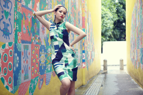 HANDMADE, LIMITED EDITION MODERN OP ART COTTON CHEONGSAM