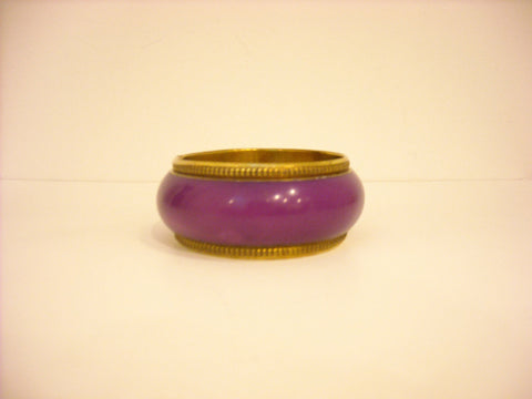 HANDMADE GOLD RIMMED PURPLE BANGLE BROAD