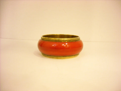 HANDMADE GOLD RIMMED RED BANGLE BROAD