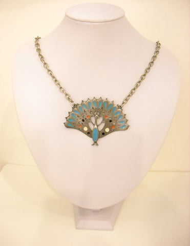Strutting Peacock Vintage Necklace